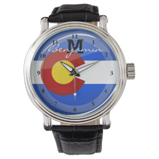 Montre Drapeau rond brillant du Colorado