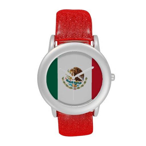 Montre du drapeau mexicain des dames (courroie rou montres cadran