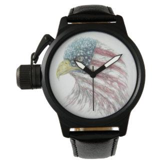 Montre Eagle chauve avec le drapeau américain