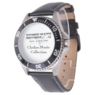 "Montre eWatch Factory ""Stoned wash Records"" Cuir"