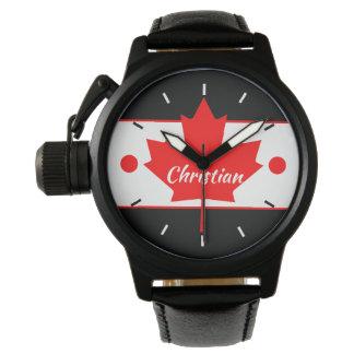 Montre Feuille d'érable canadienne (votre nom)