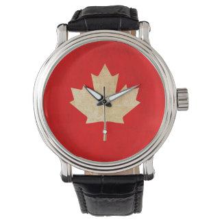 Montre Feuille rouge canadienne patriotique vintage
