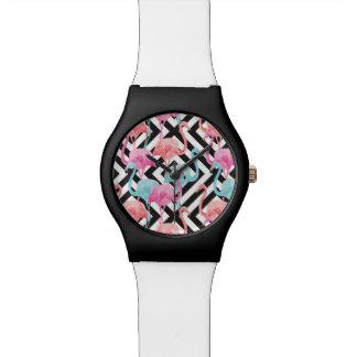 Montre Flamants sur le motif audacieux de conception