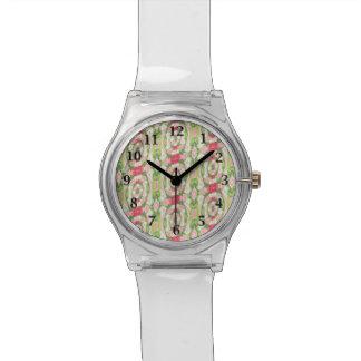 Montre Floral rouge vert blanc tordu de rose d'aquarelle