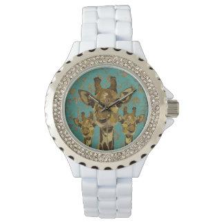 Montre florale de girafes de damassé d'or rétro montres