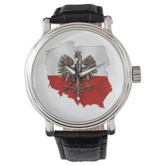 Montre Forme de la Pologne avec les couleurs polonaises