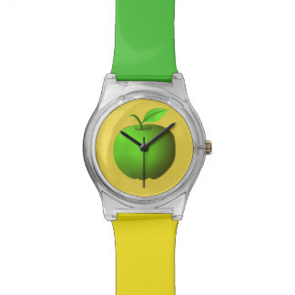 Montre Fruit frais simple jaune vert d'Apple Minimalistic