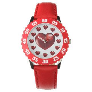 Montre Grande montre-bracelet rouge de coeur pour des