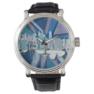 Montre Horizon | 3D bleu de New York City
