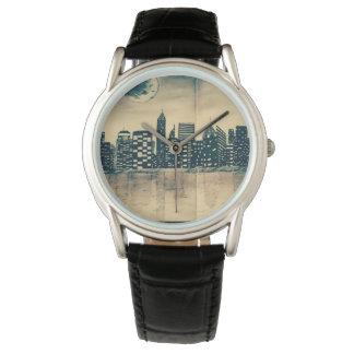 Montre horloge avec fond de ville