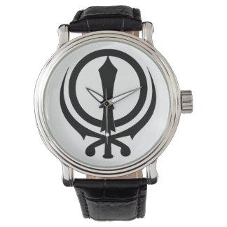 "Montre Horloge homme cuir noir Vintage «Adi Shakti """
