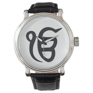 """Montre Horloge homme cuir noir Vintage «Ek ONG Kar """""""