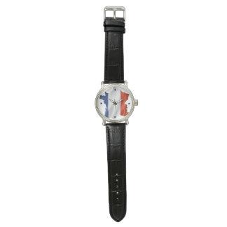 Montre Horloge pour des patriotes de la France (cuir