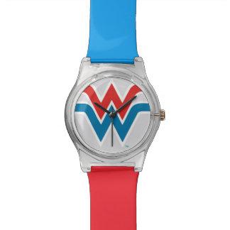 Montre Logo blanc de femme de merveille et bleu rouge