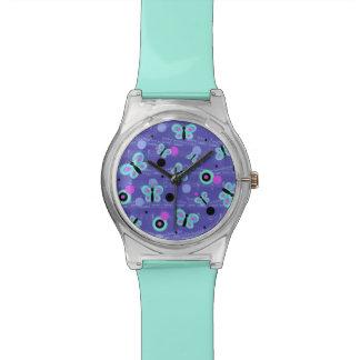 Montre lunatique de filles de papillons montres