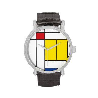 Montre minimaliste d'art moderne de Mondrian de Montres Cadran