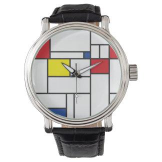 Montre minimaliste d'art moderne de Piet Mondrian Montres Cadran