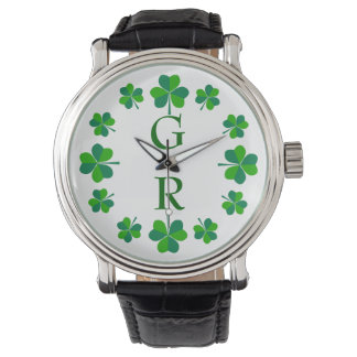 Montre Monogramme personnalisable de shamrocks