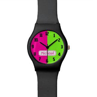 Montre Monogramme vert rose au néon lumineux moderne