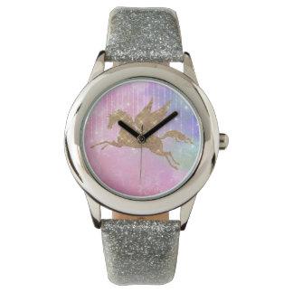 Montre Montre-bracelet d'argent de rose d'étincelle d'or