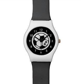 Montre Montre-bracelet noire et blanche du football
