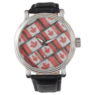 Montre Motif canadien de motif de drapeau