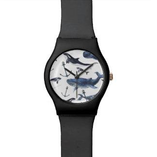 Montre Motif de baleine et d'ancre d'aquarelle