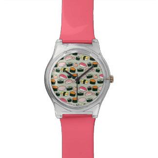 Montre Motif d'illustrations d'amusement de sushi