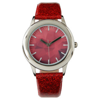 Montre Motif géométrique rouge avec des heures