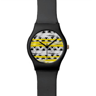 Montre Motif tribal de rayures jaunes blanches noires