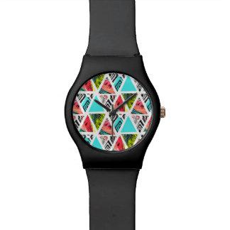 Montre Motif tropical abstrait coloré