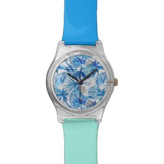 Montre Motif tropical bleu lumineux d'aquarelle