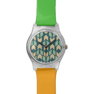 Montre Motif turquoise géométrique extérieur de flèche