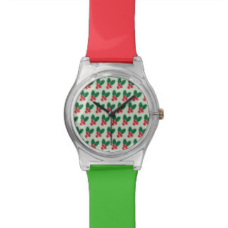 Montre Motif vert de feuille de baies rouges de Noël
