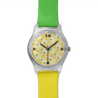 Montre multicolore de bande de motif de citron montres