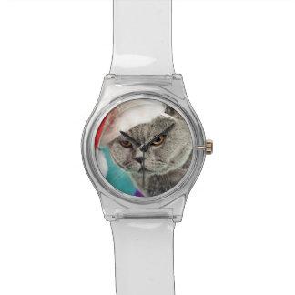 Montre Noël gris de chat - chat de Noël - chat de chaton