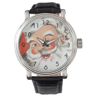 Montre Noël vintage, le père noël gai avec le sourire