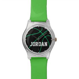 Montre noire et verte faite sur commande d'enfants montres bracelet
