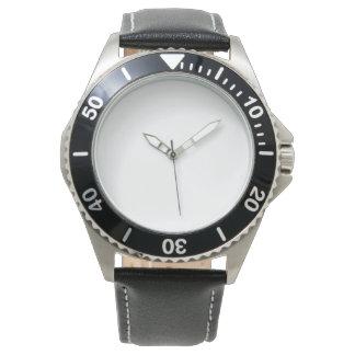 Montre noire inoxydable du bracelet en cuir des montres bracelet