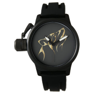Montre noire surdimensionnée de loup d'or de XGN