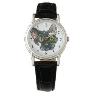 Montre noire vintage de bracelet en cuir du chat montres cadran