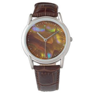 Montre Opale de feu orange iridescente