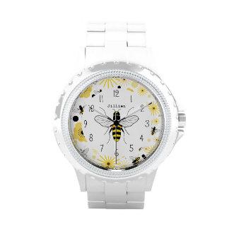 Montre personnalisée par abeille de miel montres