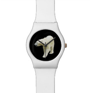 Montre Photo d'ours blanc sur le noir