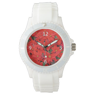 Montre Photo florale des poinsettias I de vacances rouges