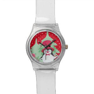 Montre Pingouin de fête avec Sleigh - rouge