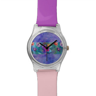 Montre Rayure florale et points d'aquarelle tropicale