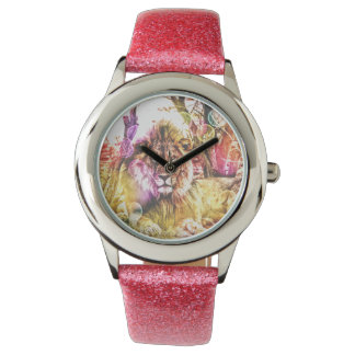 Montre rose de lion de parties scintillantes