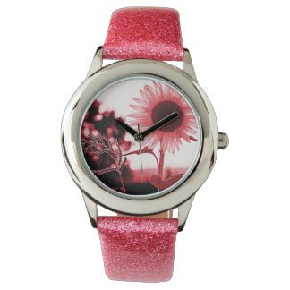 Montre rose de tournesol