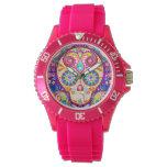 Montre rose mignonne de crâne de sucre - jour de montres bracelet